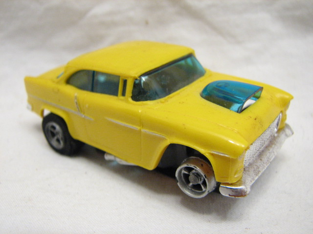 VINTAGE AURORA HO AFX SLOT CAR 55 CHEVY BEL AIR YELLOW RACER SLOTCAR