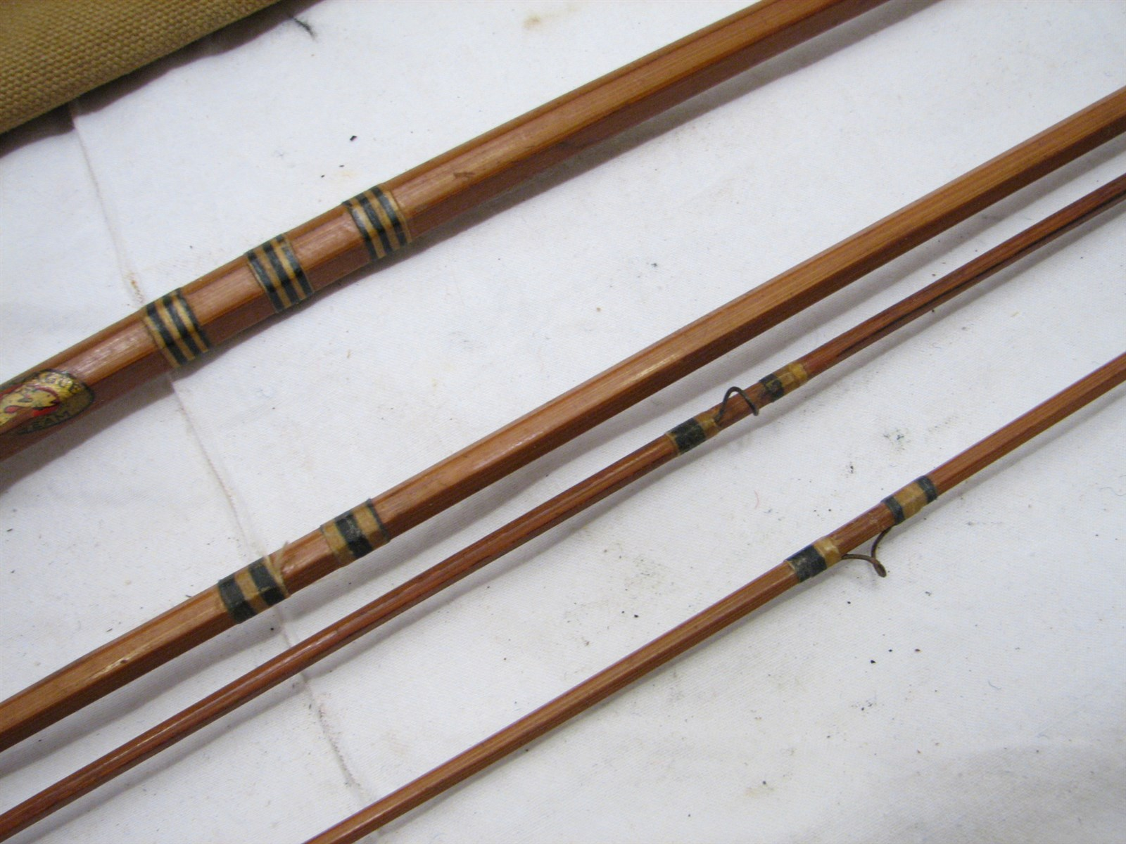 Antique split bamboo montague fly fishing rod w case