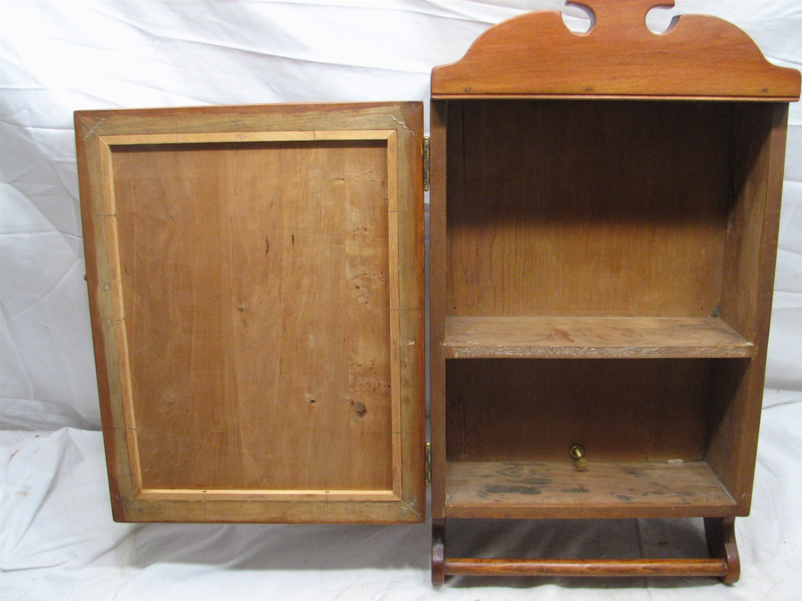 Antique wooden bathroom medicine wall kitchen spice cabinet apothecary ebay - Antique bathroom wall cabinets ...