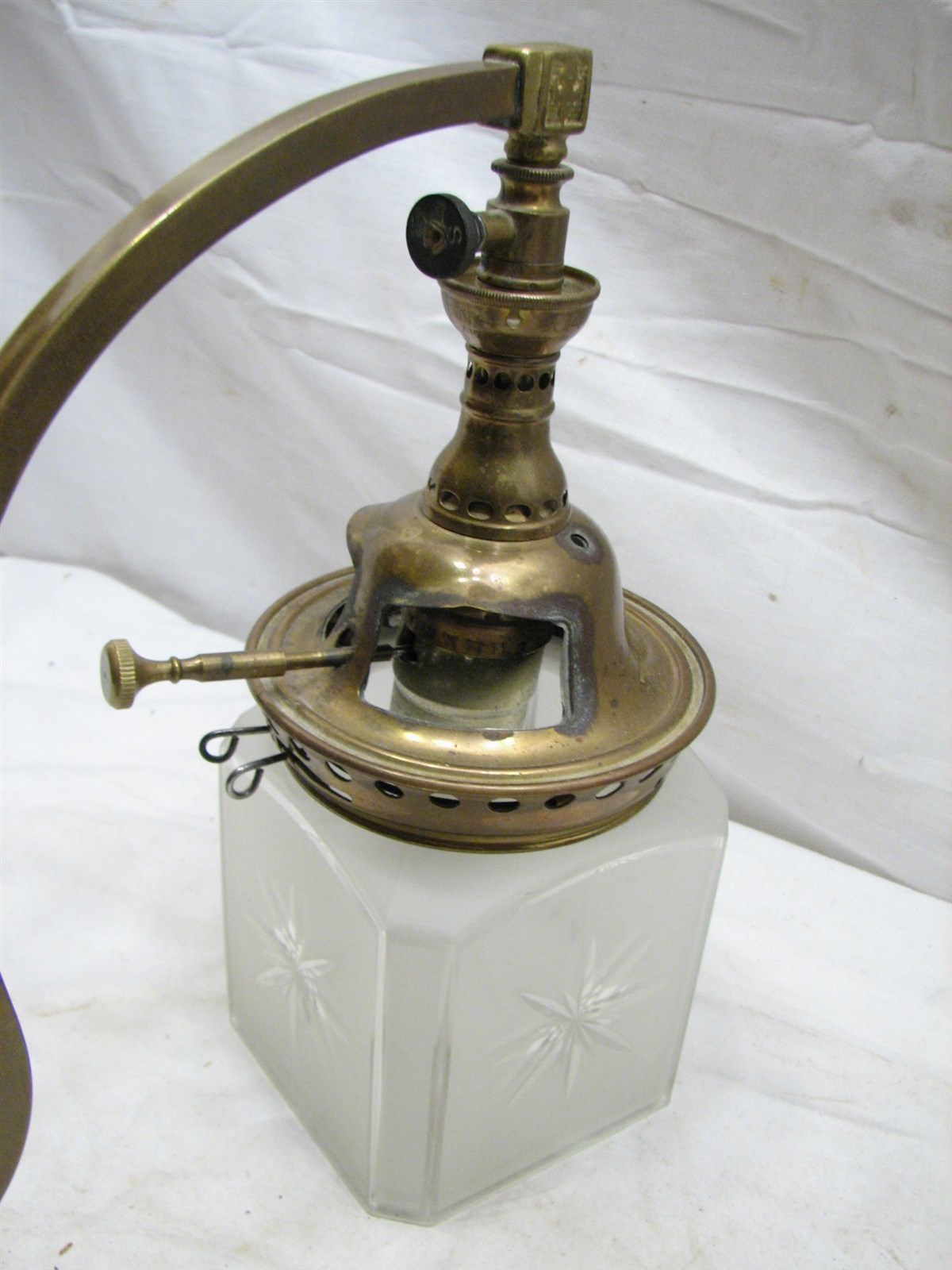 Wall Gas Lamps : Pr Converted Gas Wall Arm Sconce Lights Lamps Frosted Star Glass Shade Electric eBay