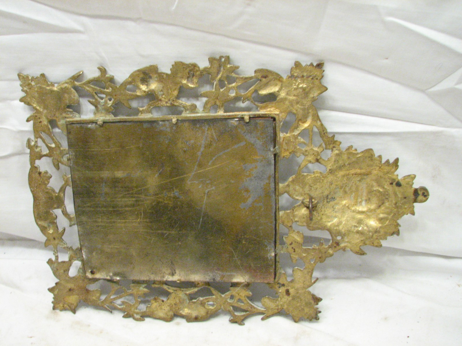 Vintage brass ornate art nouveau victorian beveled wall for Victorian mirror