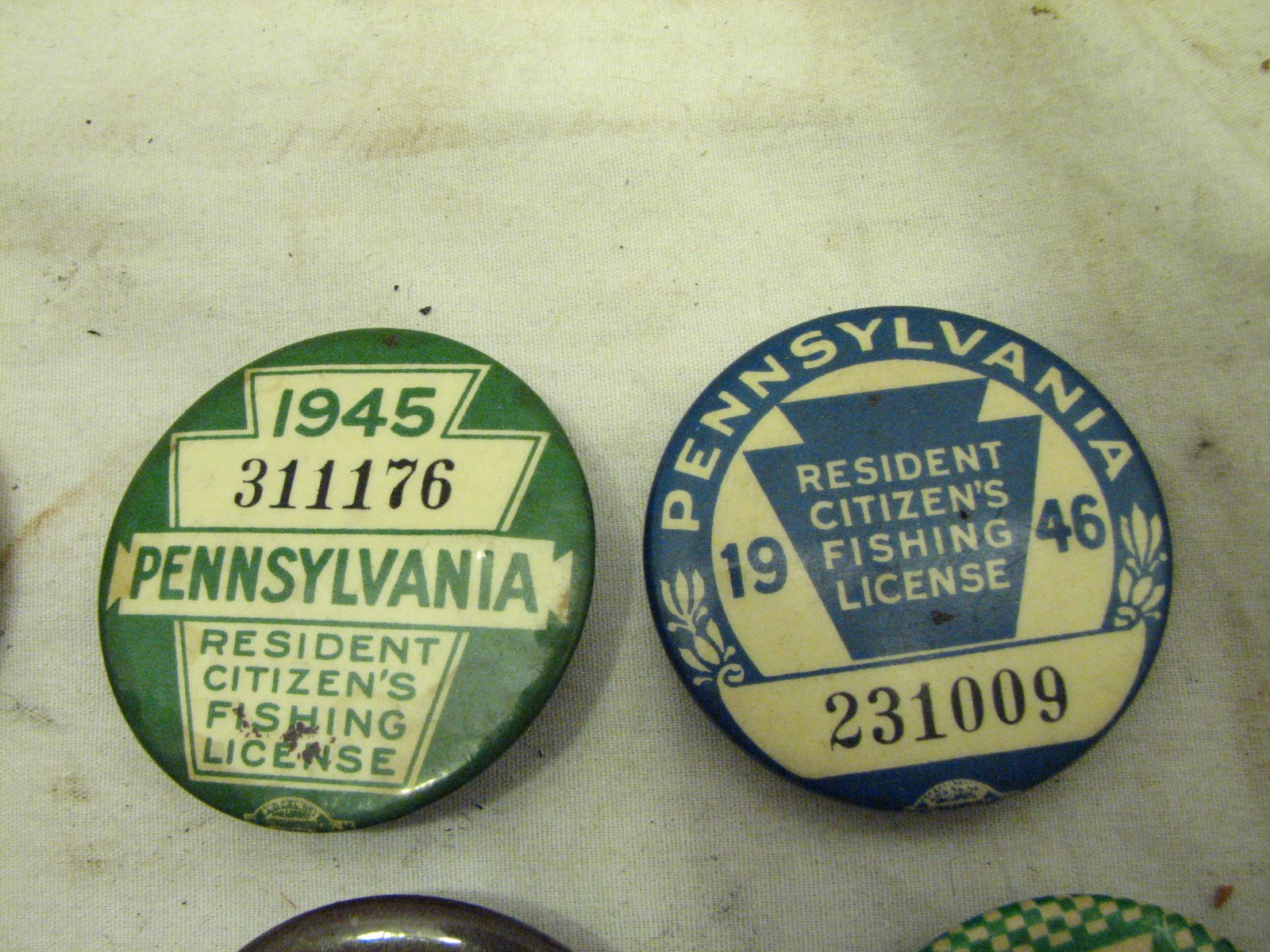 12 pa fishing license buttons 1937 1944 1945 1946 1950 for Pa fishing license