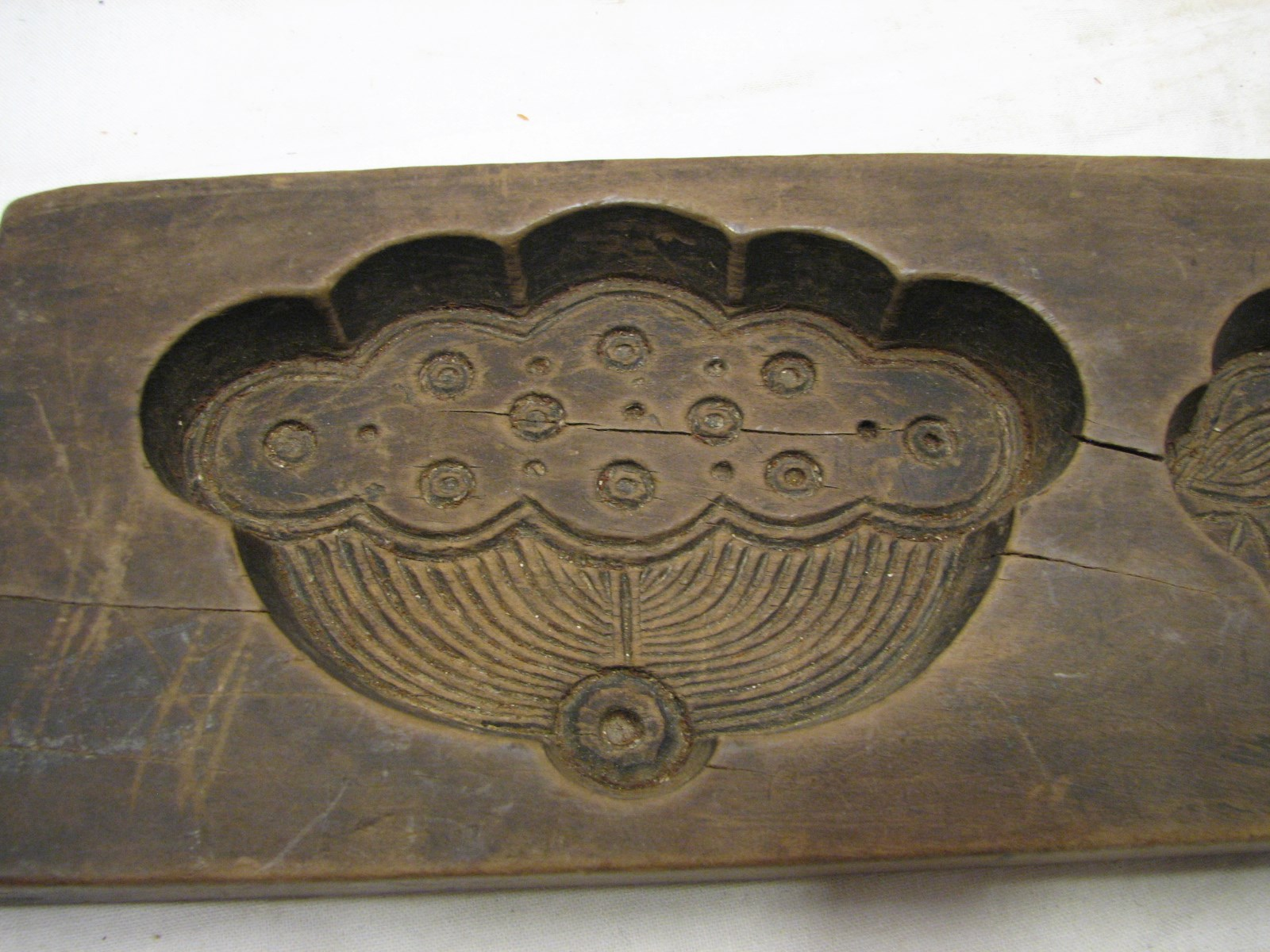 Early hand carved wooden maple sugar candy mold primitive