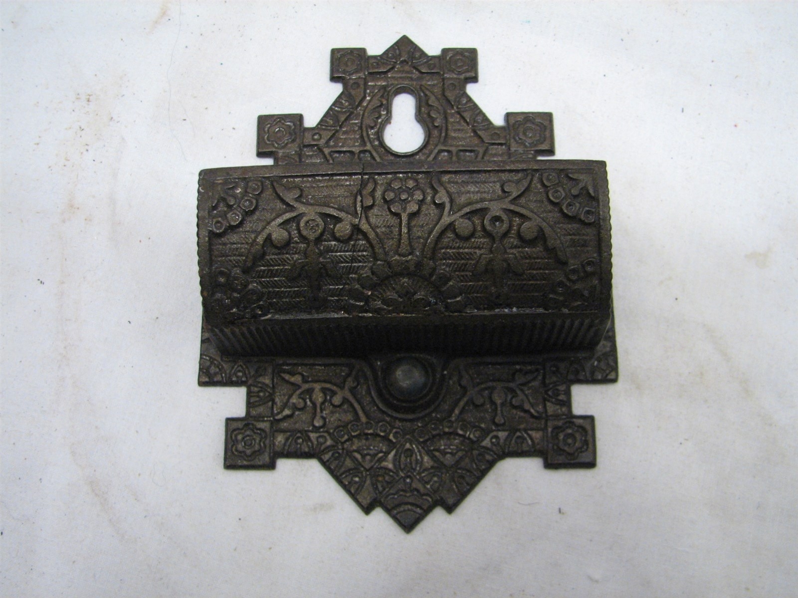 Antique Cast Iron ~ Antique early ornate victorian cast iron match safe holder