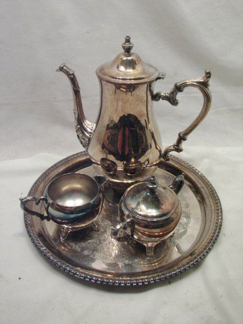Silver Tray Coffee Table Decorating Ideas: Wm Rogers Silver Plate Tea Coffee Set W Serving Tray