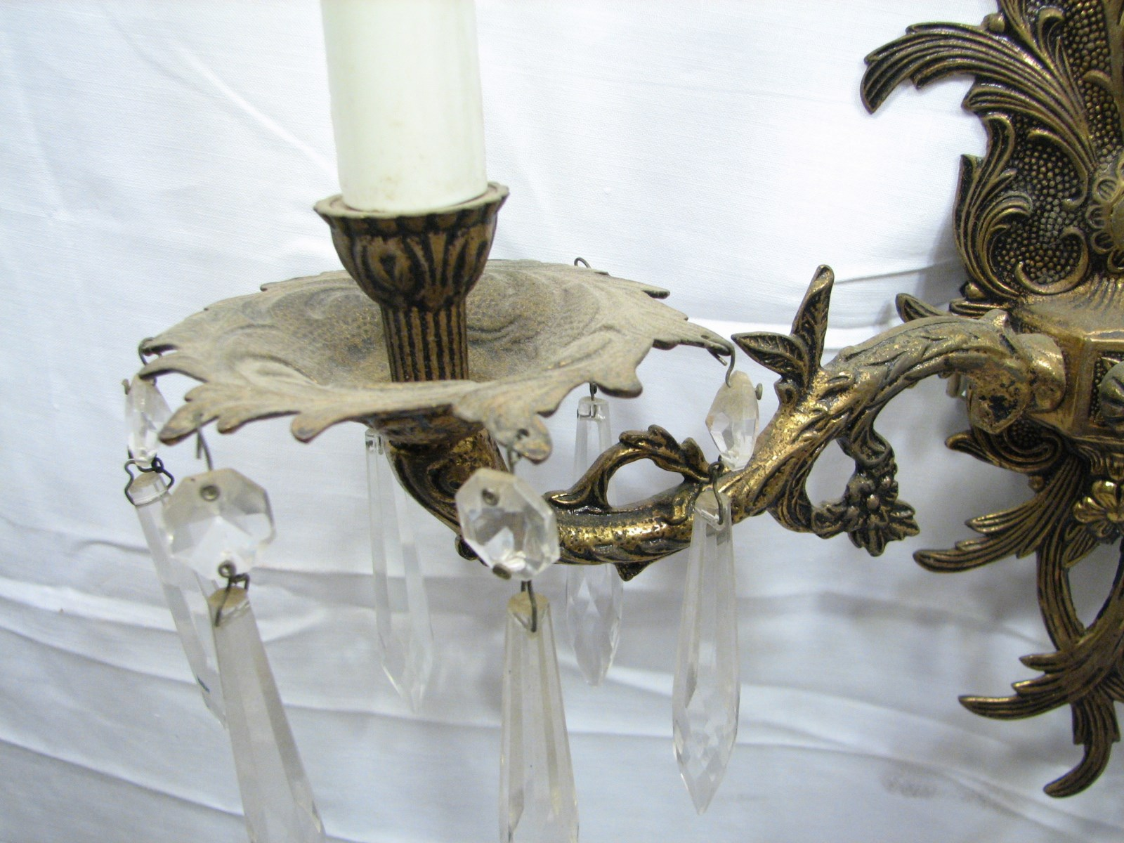 Vintage Brass Wall Sconce W Crystals Light Candelabra